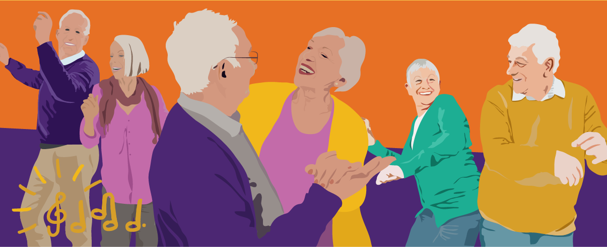 picture of people with dementia and their carers dancing at a silverline memories event